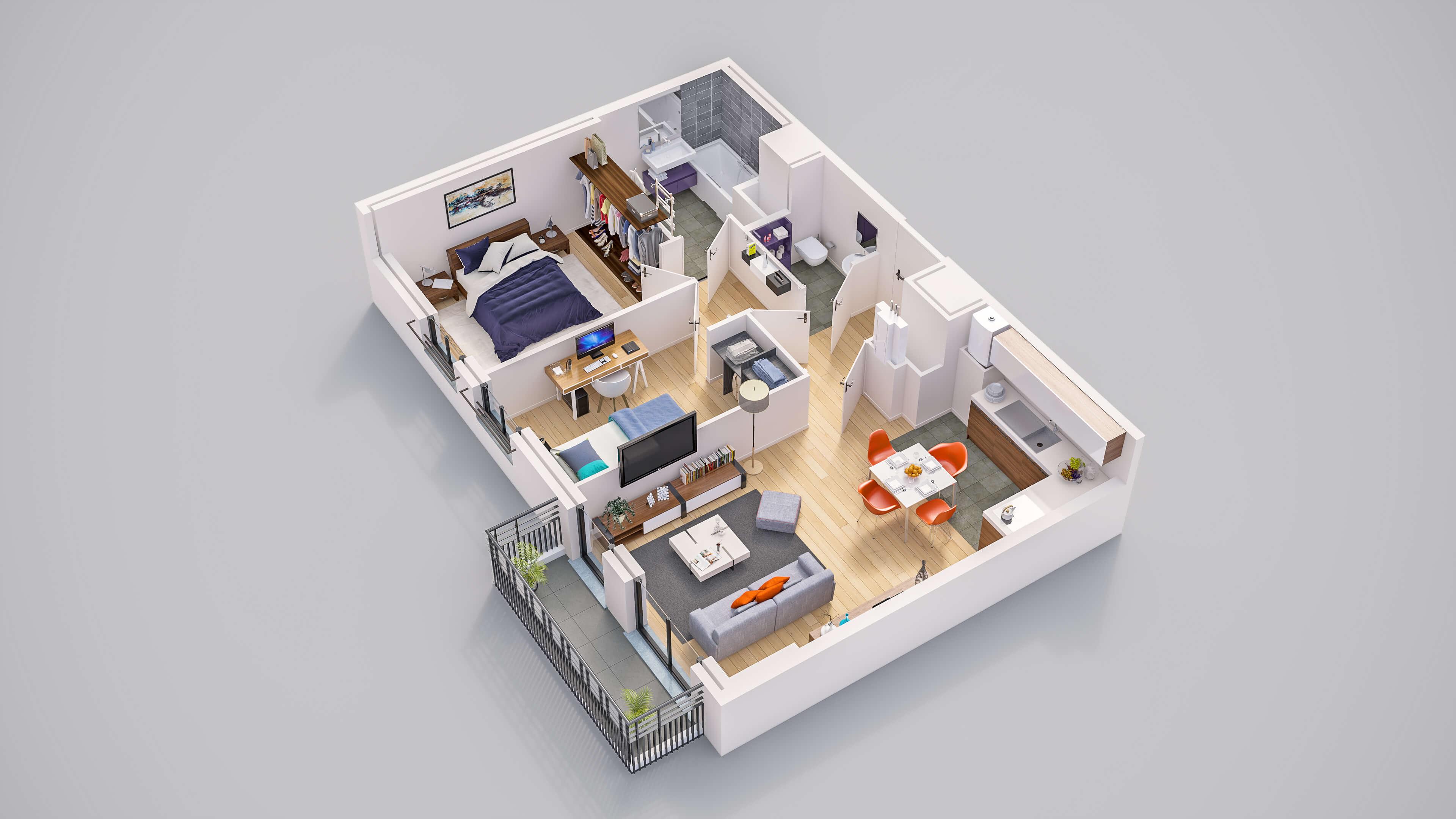 plans 3d immobilier